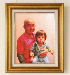還暦祝いにて~肖像画油絵「おじいちゃんと孫」